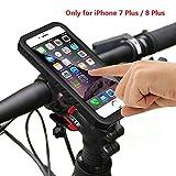 Support Vélo iPhone 7 Plus avec Coque Étanche , iPhone 8 Plus Bike Mount Holder, 360° Rotatif, Anti-choc Anti-poussière et Anti-neige Housse Etui, Convient pour vélo Moto Quad Scooter etc.(Noir)