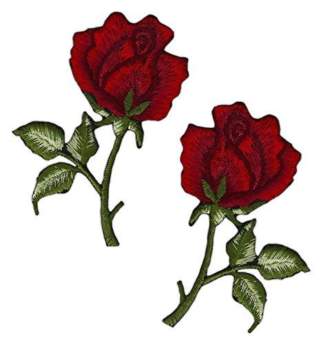 Blumen Rose Rot Set 2 Stück Aufnäher Bügelbild -