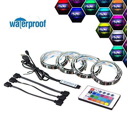 Foto de Simfonio Tiras LED 2M Retroiluminación LED de TV USB Tira De Luz Con Control Remoto Para TV de 40 A 60 Pulgadas HDTV, Monitor De PC