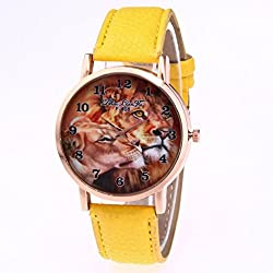 The Best Gift, Anglewolf Luxury Fashion Lions Printing PU leather Quartz Sports Watch Yellow