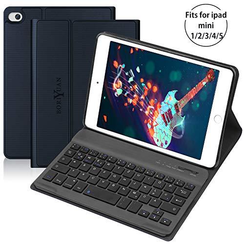 BORIYUAN Tastatur Hülle Kompatibel für ipad Mini 5/4 / 3/2 / 1 - Magnetischen Schlaf/Wach mit Abnehmbar German Tastatur - Navy blau - Für Das Ipad Tastaturen Mini