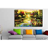 Tamatina Modern Art Canvas Painting - Beautiful Pond - Paintings For Living Room - Paintings For Bedroom - Paintings For Drawing Room - Large Wall Painting For Living Room