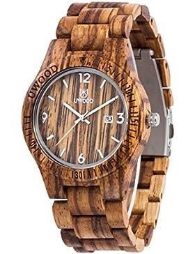 Uwood Mode Zebra Sandale aus Holz Quarz-Holz-Uhr-Wasser-Beweis-Slim Wood Uhren