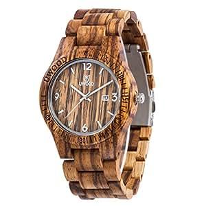 Uwood Moda Zebra sandalo quarzo di legno di legno orologio da polso impermeabile Slim legno Guarda
