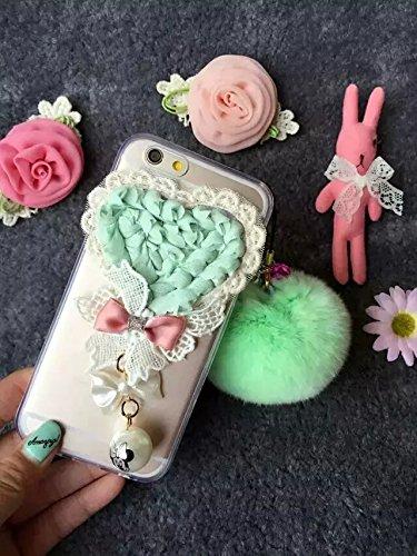 Coque iPhone 6 Plus/6S Plus, iNenk® Le nouveau trois dimensions tissu Lollipop dentelle romantique Fleur Soft Shell TPU Amour Housse Transparent Blanc Rose Vert Housse de protection-White Flower vert Amour