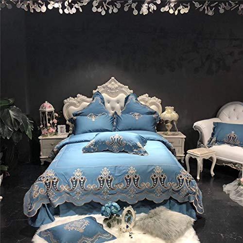 HIUGHJ steppenLight Blue Luxury 120 S ägyptische Baumwolle Gold Royal Stickerei Bettwäsche Set Queen King Size Bettbezug Bettlaken/Leinen Kissenbezüge-Queen 4 Stück (Bettwäsche Blue Queen Royal)