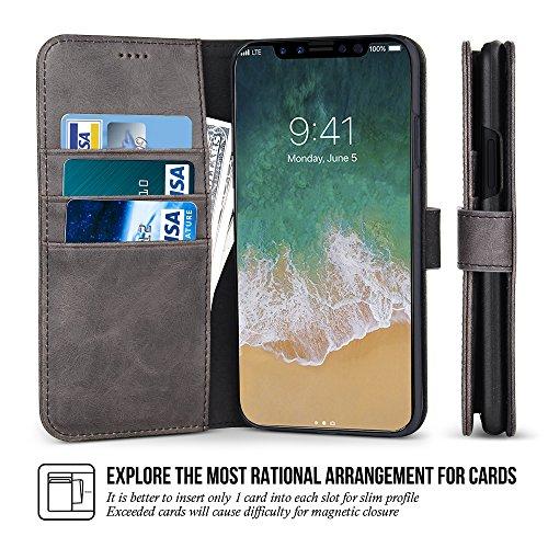 iPhone X coque, Belk flip en cuir Wallet Téléphone coquee [Béquille] [Slot pour carte] [Fermeture magnétique] Classique Vintage snap Book Cover pour iPhone X gris