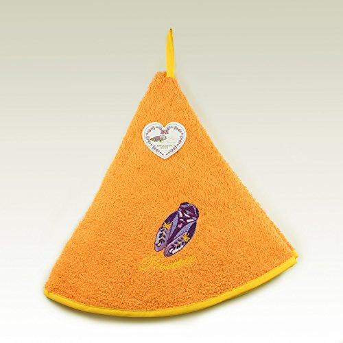 Torchon Essuie Mains Éponge Rond - 100% Coton Uni Brodé Orange Ø65cm – Cigale