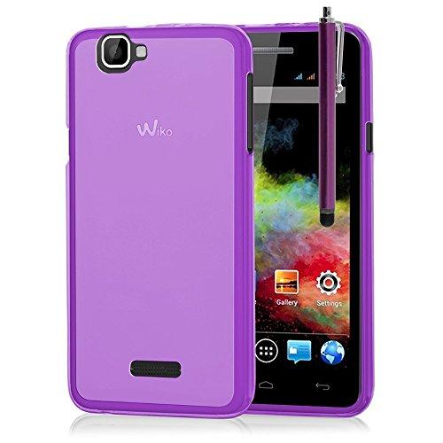 VCOMP® Housse Etui Coque silicone gel pour Wiko Rainbow + stylet - VIOLET