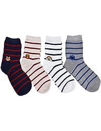 Sencillo Vida 4 pares de Calcetines de Algodón Ocasionales Rayas Impresas Medias Socks de Moda Dibujos