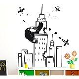 IDEAVINILO - vinilo decorativo infantil de King Kong atacando a los aviones en el Empire State. Medida: 60 x 70 cm