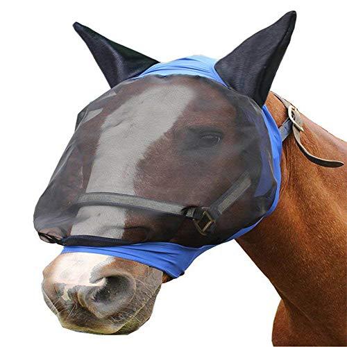 Anti-Moskito-Pferd-Maske, atmungsaktive Mesh Komfort Pferd Maske, Sommer atmungsaktive Pferd Maske Pferd Kopf bezug,Blue