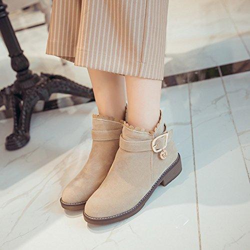 78f88c373943 ... Haizhen Bottines Chaussures Femme Plissé Chaussures À Talons Hiver   Cheville  Bottes Pour Robe Beige Gris