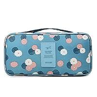 Travel Bra Organizer Bag Underwear Pouch Waterproof Personal Garment Bag Case (Blue Flowers)