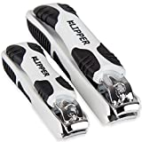 Klipper-Sharp-and-Steady-Nail-Clippers:-Rubber-Grips-and-Stainless-Steel-Blades-For-Clean-Cuts-–-Set-Includes-Toenail-Clippers-and-Fingernail-Clippers