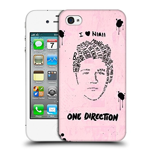 Head Case Designs Offizielle One Direction Niall Rosa BG Text Illustration Faces Harte Rueckseiten Huelle kompatibel mit iPhone 4 / iPhone 4S