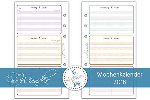 SinnWunder Kalendereinlagen 2018, A6 ( 9,6cm x 17,2cm ), Wochenkalender, verschiedene Designs, 1 Woche 2 Seiten, Inlay für Planer - Design LuckySinn