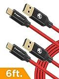 Câble Micro USB à Charge Rapide PowerBear à 6 pieds (1.8m) [2 Paquets] Câble de Charge micro USB supérieur avec Connecteurs Plaqués Or et Nylon Tordu à Haute Résistance - Rouge [24 Mois Garantie]