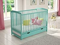 Mint Wooden Baby Cot with Drawer 120x60cm + Foam Mattress + Safety Wooden Barrier + Teething Rails