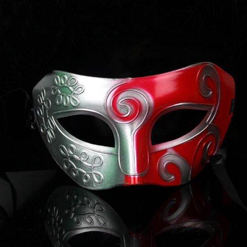 Veewon Romano griego mascota veneciana mascaras traje de Halloween traje de baile de fiesta mascarada máscara (Plata + rojo)