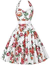 GRACE KARIN 50s Vintage Rockabilly Kleid Neckholder Kleid Festliches Kleid in Mehreren Farben
