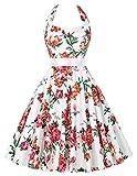 50s rockabilly kleid blumenkleid damen retro vintage abschlussfeier Kleid mit schleife-Gürtel XL CL6075-13