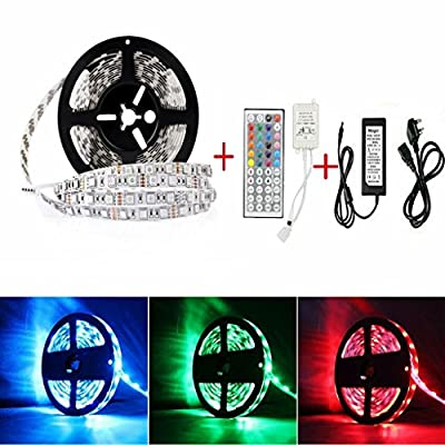 Sunface LED Strip Lights -16.4ft 5M Non-waterproof SMD 5050 RGB 300 Leds Strip Light Full Kit With 44key LED Controller and DC 12V5A Power Adapter for Home and Kitchen Decoration