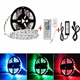Sunface Non-waterproof LED Strip Lighting -16.4ft / 5M RGB 300Leds 5050 Strip Light Full Kit - 44key ir Remote Controller Box and DC 12V5A Led Strip Power Supply for Home Lighting,Kitchen,Christmas, Gardens Home, Bar, DIY Party Decoration Colorful