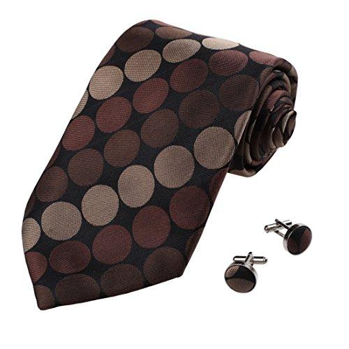 A1002 Nero Marrone Polka Dots Bridesmaids Idea regalo di compleanno regalo Mens cravatta di seta Gemelli Set 2PT In Y & G