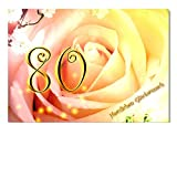 DigitalOase Glückwunschkarte 80. Geburtstag Jubiläumskarte 80. Jubiläum Geburtstagskarte Grußkarte Format DIN A4 A3 Klappkarte PanoramaUmschlag #ROSE