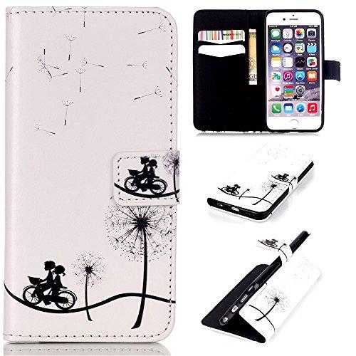 Preisvergleich Produktbild CaseHome iPhone 6 Plus /6S Plus 5.5 Inch Hülle,Schutzhülle Tasche Leder Mit Kartenfach Magnetverschluss Standfunktion Slim-Schutzhülle Folio Schalen Fall Mit Karten-/Geldscheinfach Für Apple iPhone 6 Plus /6S Plus 5.5 Inch-Fahrrad-Liebhaber, Löwenzahn
