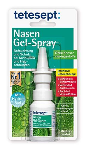 tetesept Nasen Gel-Spray - Nasenspray mit Hydro-Gel-Feuchtigkeitsfilm - Befeuchtung und Schutz für die Schleimhäute der Nase - 1 x 20 ml