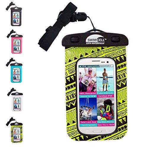 Swimcell, custodia impermeabile per iPhone 6, 7Plus, Samsung, iPad, tablet, Kindle, lettore MP3, fotocamera, portachiavi, soldi, passaporto testato IPX8. Resistente fino a 10m sott'acqua, PVC, Neon Yellow, Standard Phone 10cm x 15cm
