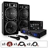 Skytec DJ-20.1 • DJ PA Karaoke Set • Beschallungs Karaoke Anlage • PA-Verstärker mit 1000W Passiv PA-Boxen, Mixer & 2 x Mikrofon • inkl. Kabelset • schwarz