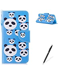 MAGQI HUAWEI P10 PU Premium Leather Phone Cases, Flowers Panda Unicorn Cartoon Pattern Design Cover and [Scratch Proof] Flexible For HUAWEI P10 Flip Wallet Shell-Cute Panda