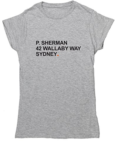 Hippowarehouse P. Sherman 42Wallaby Way Sydney Damen Fitted Short Sleeve T-Shirt (bestimmte Größenangaben in der Beschreibung) Gr. Small, grau (Fitted Abenteuer T-shirt)