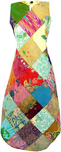 Guru-Shop -  Vestito  - Donna Verde/Multicolore