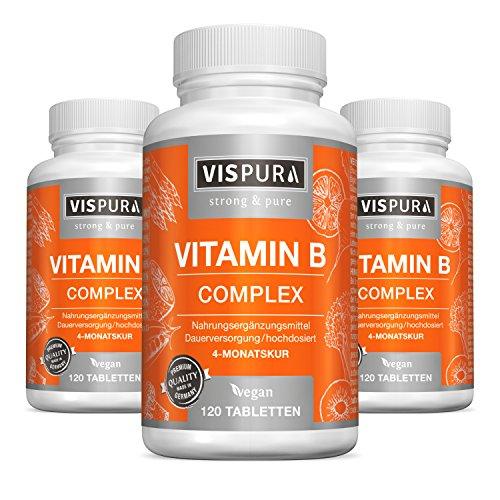 3 Dosen Vitamin B-Komplex extra hochdosiert 120 Tabletten vegan alle B-Vitamine ohne Magnesiumstearat in deutscher Premium-Qualität und 30 Tage kostenlose Rücknahme