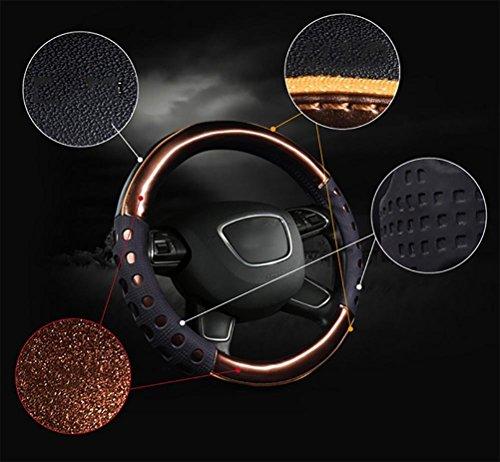 HSDMWJD Universal Lenkradhülle/Echt Leder Sports Lenkradbezug/Lenkradabdeckung Lenkradschoner Auto mit Stitch,Dimension:37-38cm