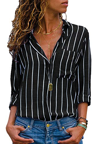 Dokotoo Bluse Gestreift Damen Hemd Oberteile V-Ausschnitt Lose Casual Chiffon Langarm T-Shirt Top Tunika Elegant Schwarz L(EU44-46) -
