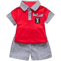 Conjuntos Bebe Niño Verano 12 18 Zolimx Patrón de Carta Impreso Camiseta Tops + Pantalones Cortos a Rayas Trajes Ropa Conjunto (Rojo, 2 Años)