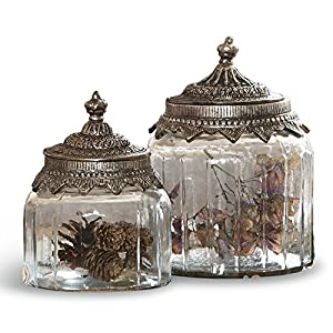 Loberon Glasdosen 2er Set Laféline, Glas/Eisendeckel, H/Ø ca. 18/14 cm, klar/silber