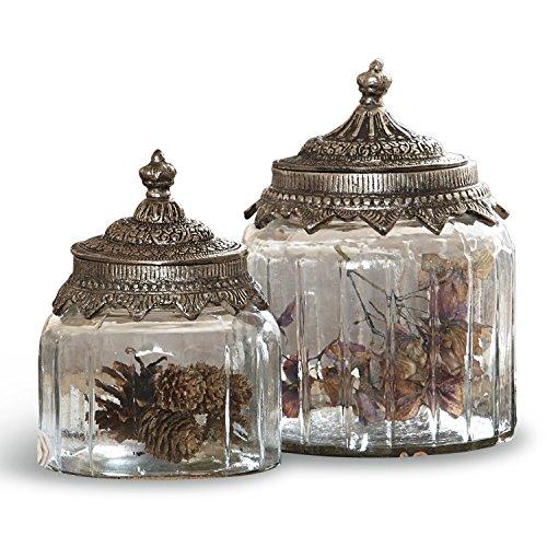 LOBERON Glasdosen 2er Set Laféline, Küchen-Accessoires, Aufbewahrung, klar/silber