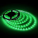 GEREE Green Led Strip Lights SMD 3528 16.4 Ft (5M) 300 Leds Flexible Rope Lighting Waterproof Tape Lights in DC Jack for Boats, Bathroom, Mirror, Ceiling and Outdoor - No Power Supply