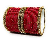 Sai Red Colour Handmade Silk Thread Metal Bangles Set for Women and Girls Stylish Traditional Bridal Jewellery Sets with Stone Work Zircon oxidised Bracelet (Pack of 28 Bangle)