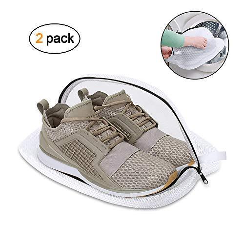 Wäschebeutel für Schuhe, omitium Wäschenetz 2 Stück Multi Schutz Wäschenetz Schuhe-Wäschesack für die Waschmaschine Mit Haltbarem Reißverschluss ideal für Empfindliche Dessous, BH und Schuhe, Weiß