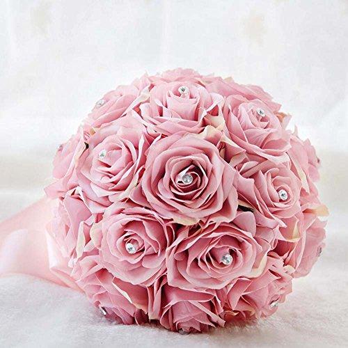Roses artificielles Bouquet romantique Fleurs de mariage Bouquets de mariée Décorations pour la maison Party Holding Roses Bouquet ( Color : Rose )
