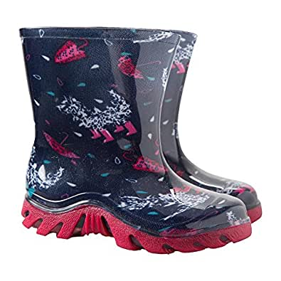 Mountain Warehouse Splash Junior Wellies - Easy Clean & Waterproof with a Soft Fabric Lining & Longer Length for Puddle Jumping - Ideal for The Park & Rainy Weather Pink 7 Child UK