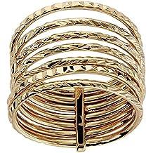 So Chic Joyas - Anillo Mujer 7 Anillos Unidos Semanario Diamantado Chapado  Oro 750 0c2c463aee5