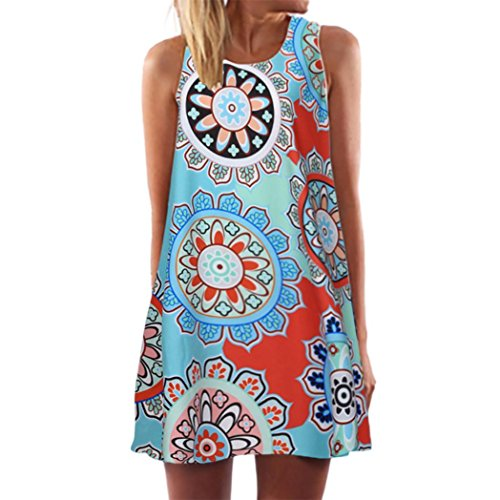 Damen Sommer Vintage Boho ärmelloses Strand Gedruckt Kurze Mini Party Kleid Frau Geschenk (S/38, Blau-2) (Kurzes Blaues Kleid Handschuhe)